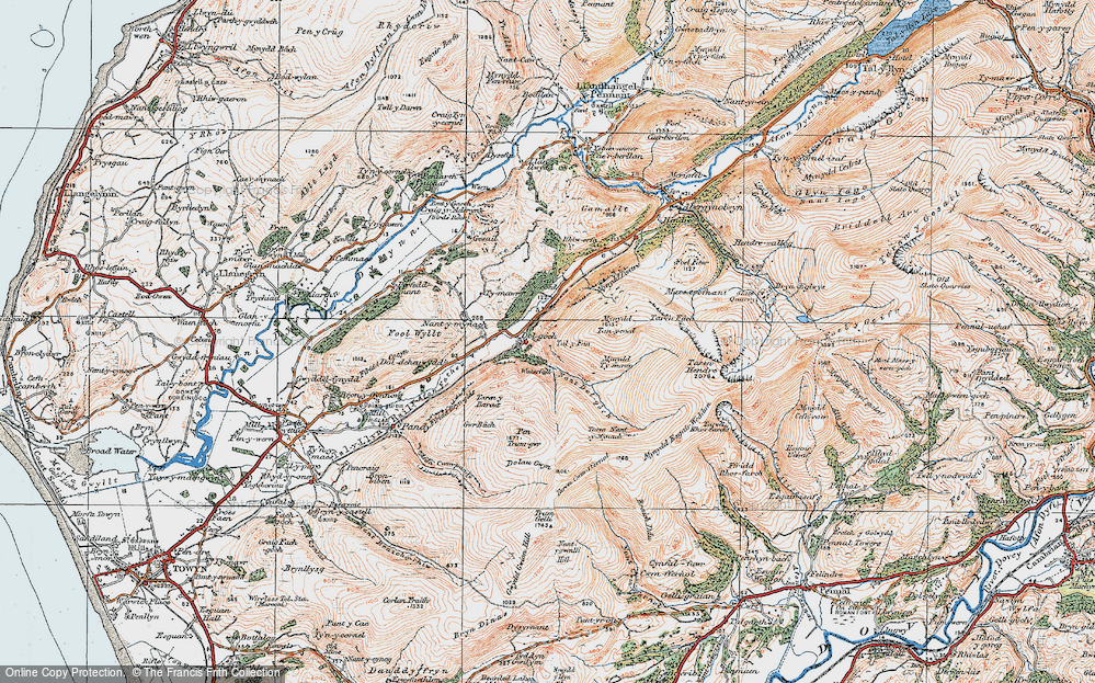 Old Map of Historic Map covering Allt Nantygwenlli in 1922