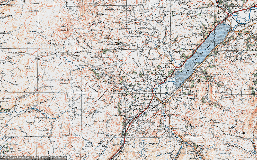 Old Map of Historic Map covering Afon Lliw in 1921