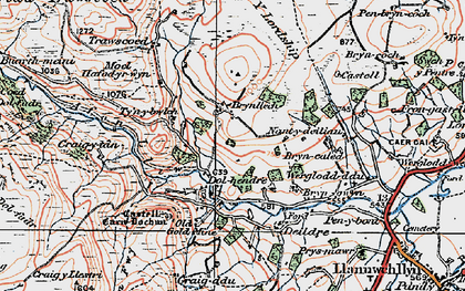 Old map of Afon Lliw in 1921