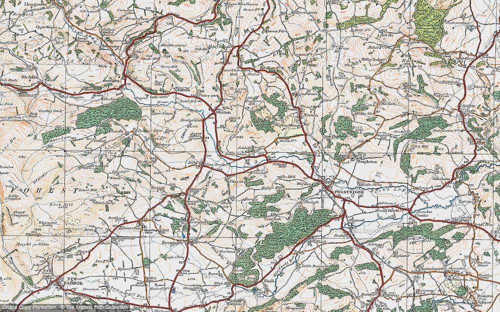 Old Map of Historic Map covering Ackhill in 1920