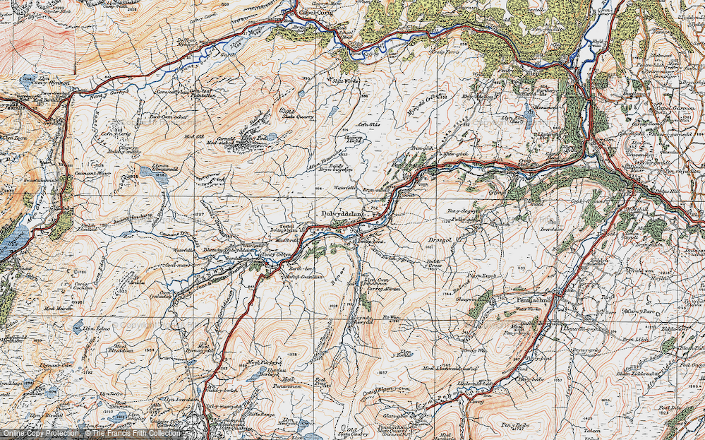 Old Map of Historic Map covering Afon Ystumiau in 1922