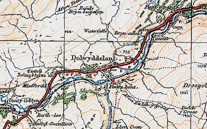 Old map of Afon Lledr in 1922