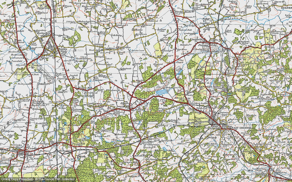 Old Map of Historic Map covering Baker's Wood in 1920