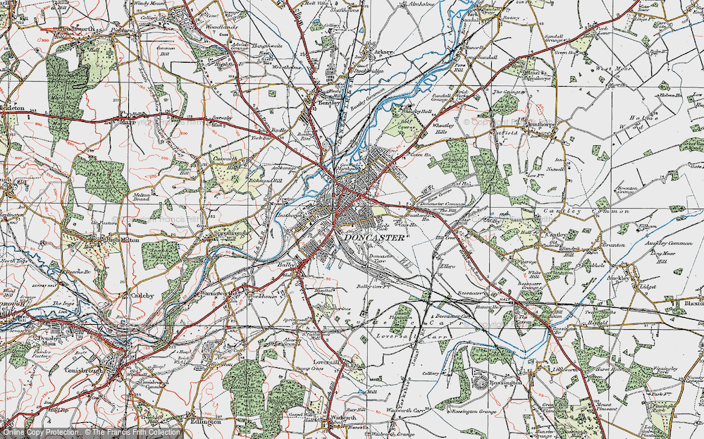 Old Map of Doncaster, 1923 in 1923
