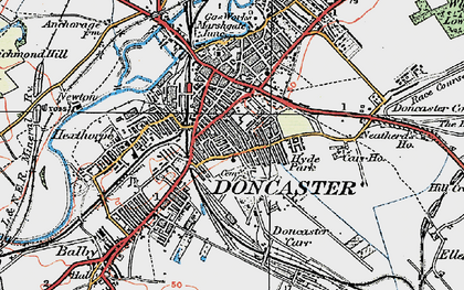 Old map of Doncaster in 1923