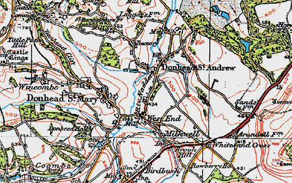 Old map of Donhead St Andrew in 1919