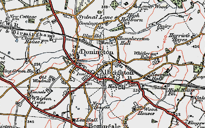 Old map of Donington in 1921
