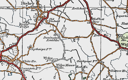 Old map of Donington Eaudike in 1922