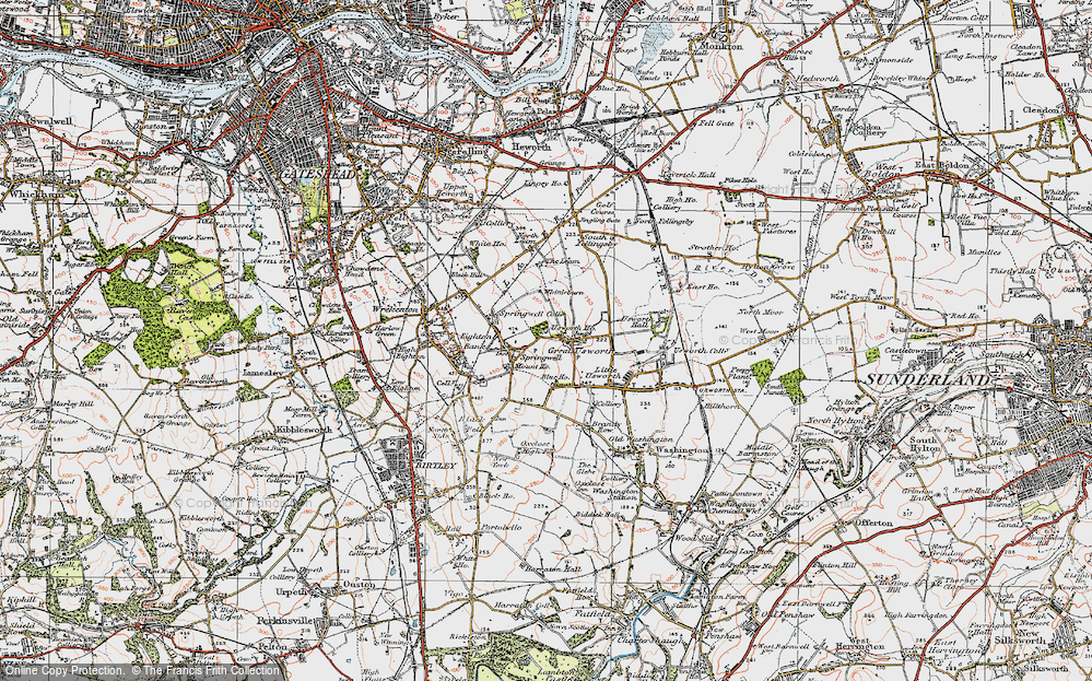 Old Map of Historic Map covering Leam, The in 1925