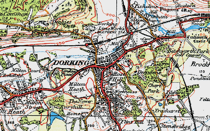 Old map of Dorking in 1920