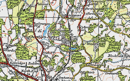 Old map of Dormans Park in 1920