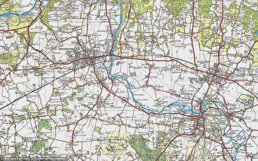Old Map of Historic Map covering Amerden Ho in 1920