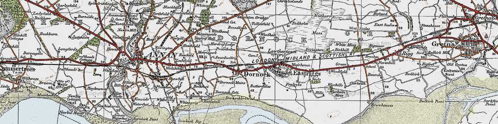 Old map of Woodhall in 1925