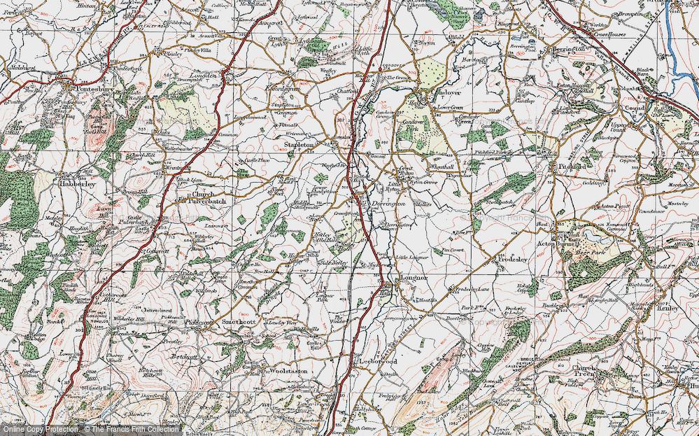 Old Map of Dorrington, 1921 in 1921