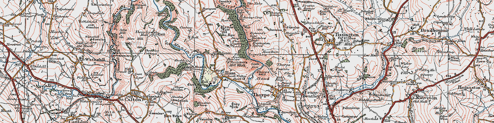 Old map of Dovedale in 1921