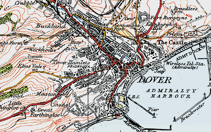 Old map of Dover in 1920