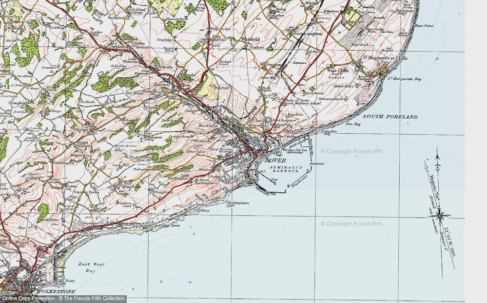 Map of Dover 1920 Francis Frith
