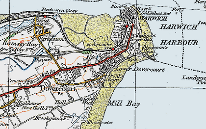Old map of Dovercourt in 1921