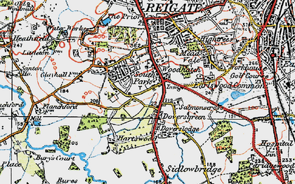 Old map of Doversgreen in 1920
