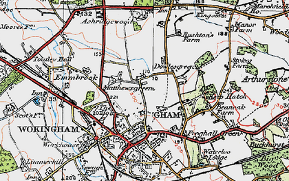 Old map of Ashridge Manor in 1919