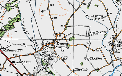 Old map of Down Ampney in 1919