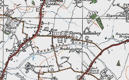 Old map of Down Hatherley in 1919