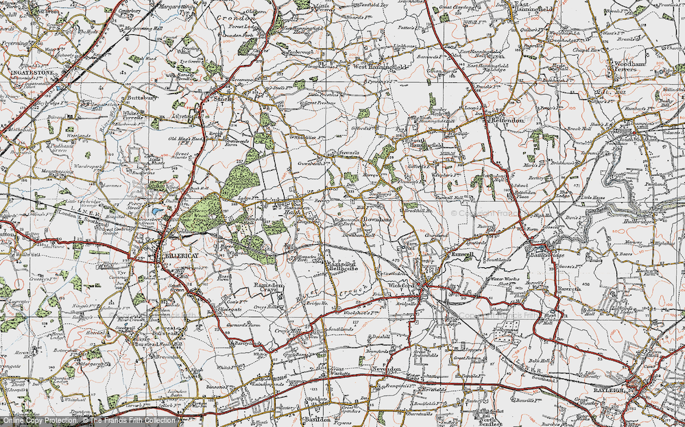 Old Map of Downham, 1921 in 1921