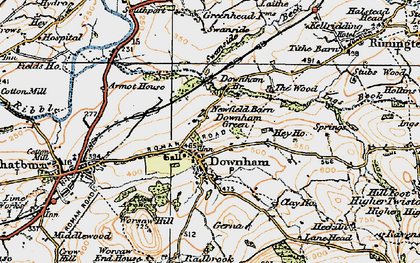 Old map of Downham in 1924