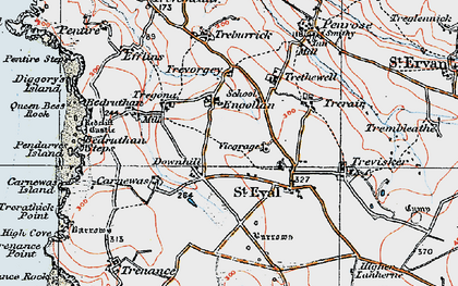 Old map of Downhill in 1919