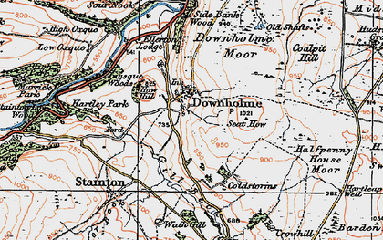 Old map of Downholme in 1925