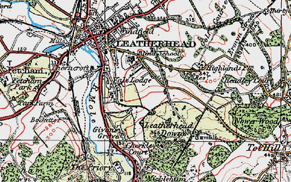 Old map of Downside in 1920