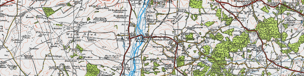 Old map of Downton in 1919