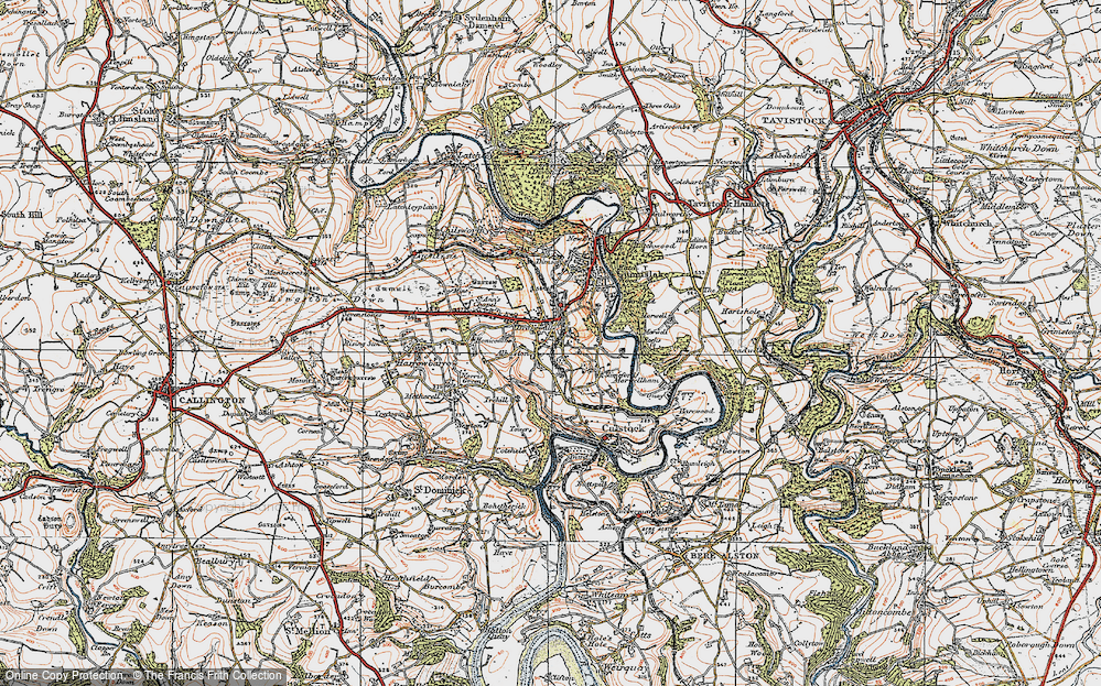 Old Map of Historic Map covering Albaston in 1919