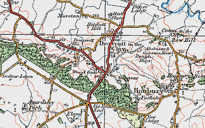 Old map of Draycott in the Clay in 1921