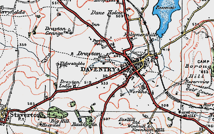 Old map of Badby Fields in 1919