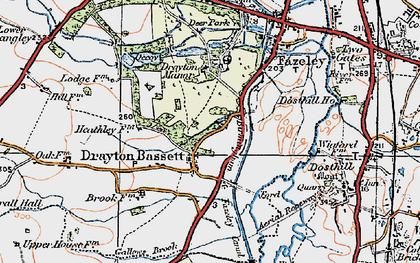 Old map of Drayton Bassett in 1921