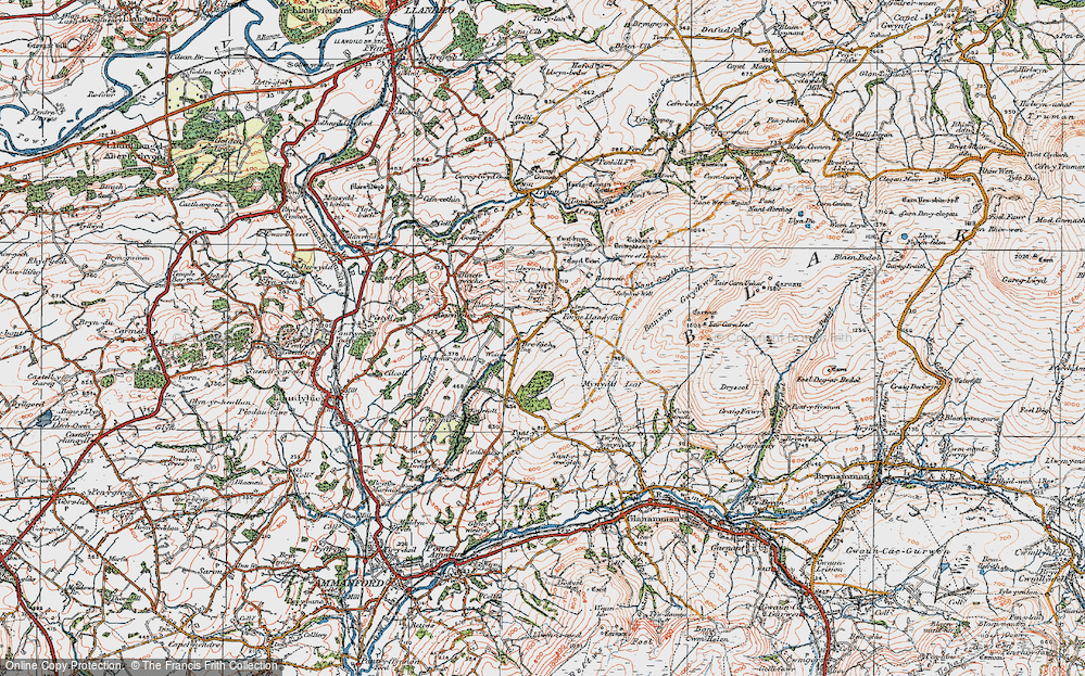 Old Map of Historic Map covering Afon Llwchwr in 1923