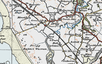 Old map of Drigg in 1925