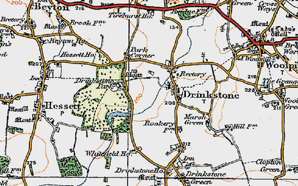 Old map of Drinkstone in 1921