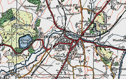 Old map of Droitwich Spa in 1919