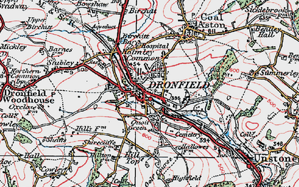Old map of Dronfield in 1923