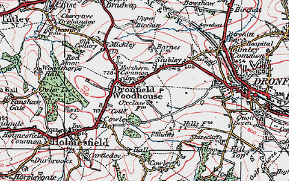 Old map of Dronfield Woodhouse in 1923