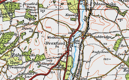 Old map of Droxford in 1919
