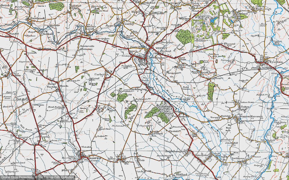 Old Map of Ducklington, 1919 in 1919