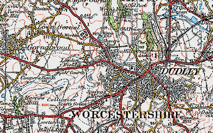 Old map of Dudley in 1921