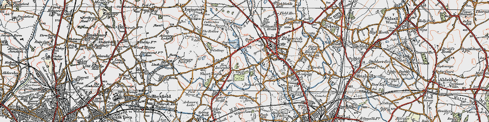 Old map of Wyrley and Essington Canal in 1921