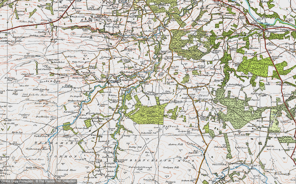 Old Map of Historic Map covering Acton Fell in 1925
