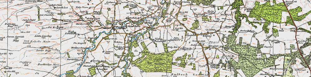 Old map of Acton Fell in 1925