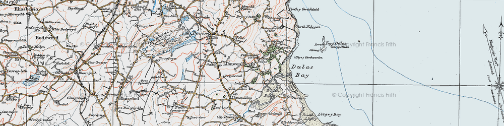 Old map of Ynys y Carcharorion in 1922