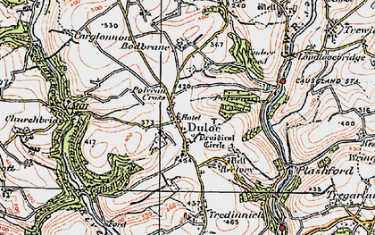 Old map of Duloe in 1919